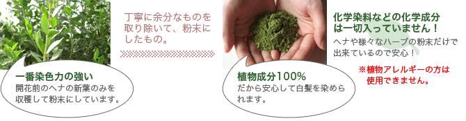 植物成分100% ヘナ・ヘナカラー