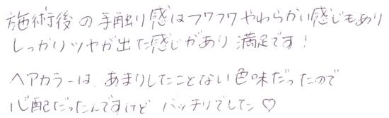 オーダーメイドカラー後の感想 01 [お客様の声・口コミ]