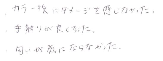 オーダーメイドカラー後の感想 02 [お客様の声・口コミ]