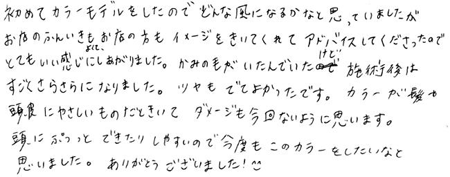 オーガニックカラーの感想 03 [お客様の声・口コミ]