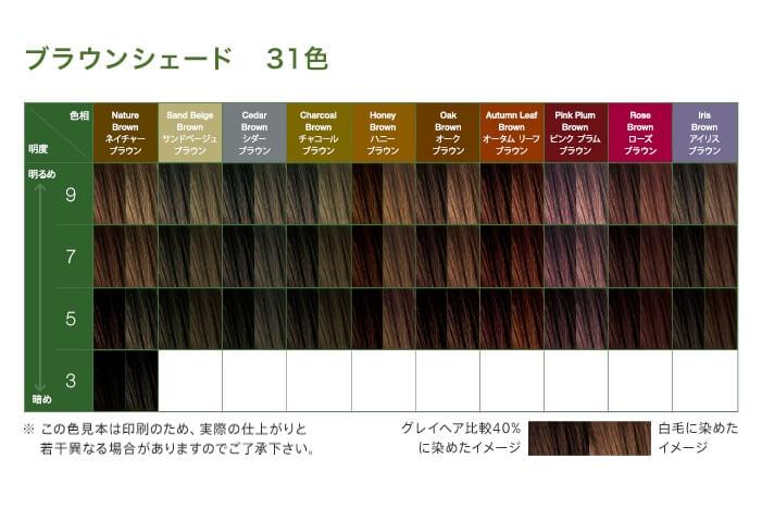オーガニックカラー 白髪染めのカラーチャート(色見本)