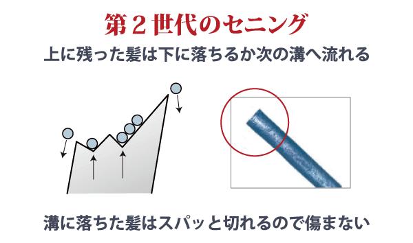 第2世代 セニングシザー(すきバサミ)の櫛刃の構造&毛髪断面図